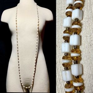 Vintage 20s Milk Glass Amber Long Flapper Necklace